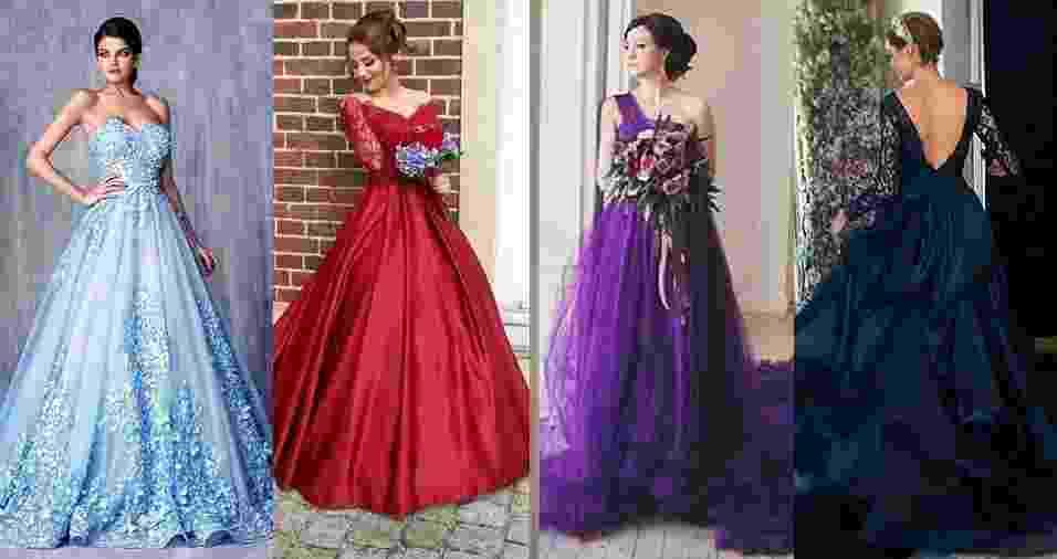Maio é o mês das noivas, e resolvemos trazer algumas inspirações de vestidos que vão dar um colorido a mais para a cerimônia. Esqueça o traje todo branco: estes modelos de inúmeras cores podem surpreender até mesmo a noiva - Montagem BOL