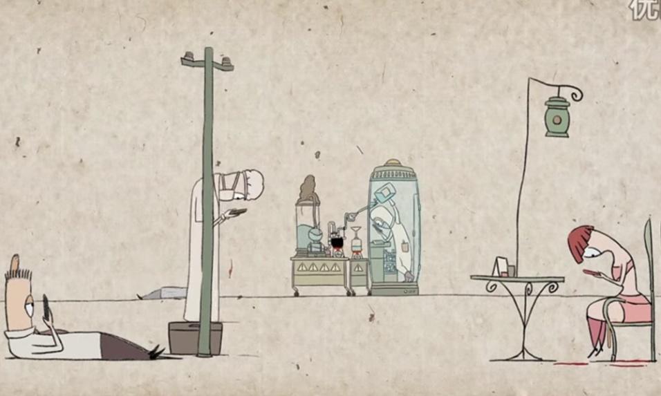 4.nov.2015 - Uma animação reproduzida pelo canal Min Alxe, no YouTube, mostra como as pessoas estão cada mais viciadas nos smartphones. No vídeo, as pessoas aparecem tão obcecadas mandando mensagens e checando as redes sociais que a realidade virtual se mescla e, em dados momentos, até se sobrepõe à vida real