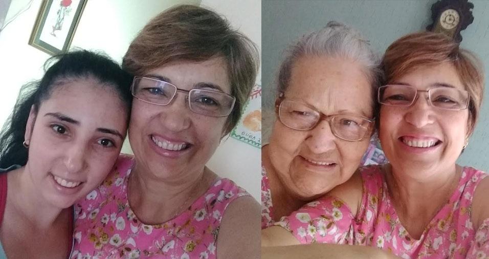 Gislene, de Sorocaba (SP), com a filha Olivia e com a mãe Gislene e com a mamãe Cida
