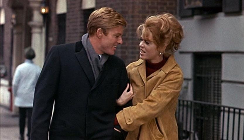 """1967 - Robert Redford e Jane Fonda no filme """"Descalços no Parque"""". A interpretação da atriz na comédia romântica lhe rendeu uma indicação ao prêmio BAFTA, no Reino Unido, como melhor atriz estrangeira"""