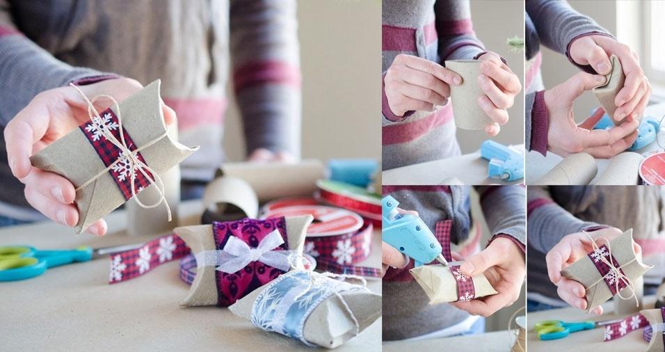 6. Presenteie os convidados com pequenas lembrancinhas embrulhadas em caixinhas feitas com rolinhos de papel higiênico