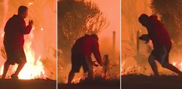 7.dez.2017 - Homem resgata coelho das chamas em estrada da Califórnia