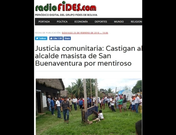 Prefeito foi preso a uma guilhotina na cidade de San Buenaventura, Bolívia