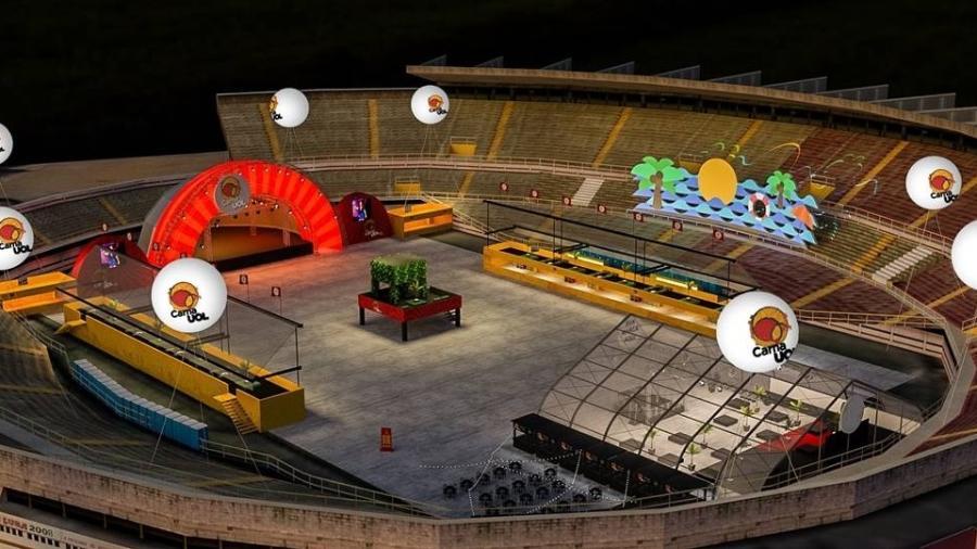 Cenografia do CarnaUOL 2017 SP, no estádio do Canindé, na zona norte da cidade, que terá palco inspirado em festa de Ibiza - CarnaUOL