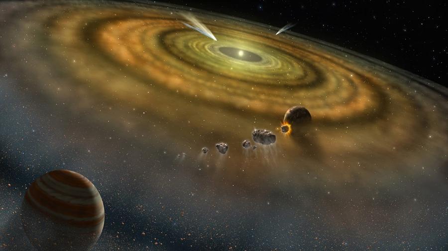 Ilustração mostrando o material e os corpos em formação em disco protoplanetário ao redor de estrela jovem - Nasa/ Fuse/ Lynette Cook