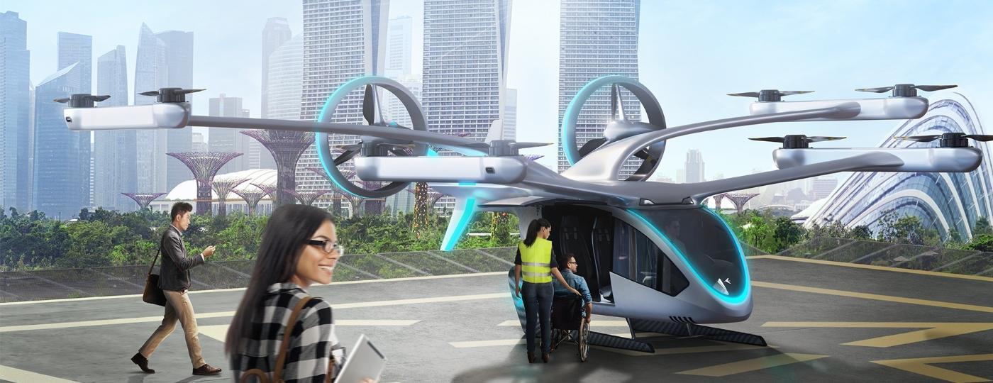 Modelo de eVTOL (veículo voador elétrico) da Eve, empresa da Embraer - Divulgação/Embraer