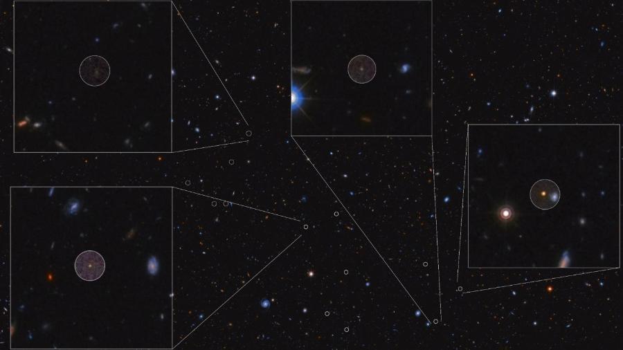 A imagem mostra 5 das 23 galáxias descobertas no protoaglomerado de HDF 850.1. A distância entre as galáxias e o seu brilho fraco tornam o trabalho de identificação um grande desafio - Nasa/ ESA/ GOODS-N+3DHST+CANDELS Team/ Daniel López/ IAC