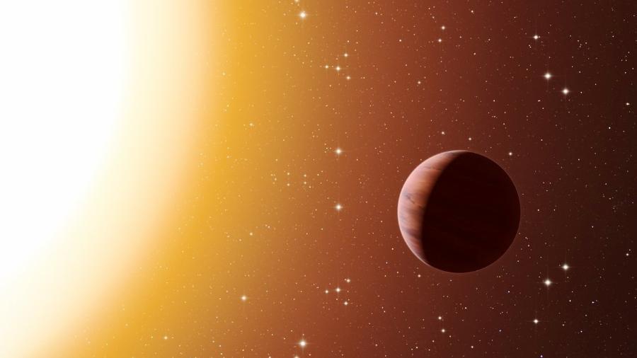 """Impressão artística de um planeta tipo """"júpiter-quente"""", próximo a sua estrela hospedeira. - ESO/L. Calçada"""