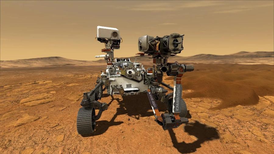 Ilustração do rover Perseverance no solo marciano. O pouso é esperado para as 17:55 desta quinta (18 de fevereiro) - Nasa