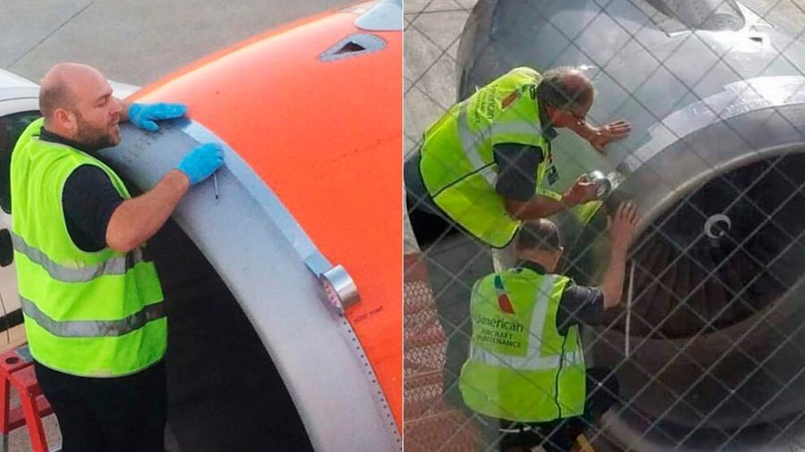 Speed tape, que parece a silver tape, é uma fita adesiva especial para pequenos reparos em aviões - Montagem/Reprodução/Instagram