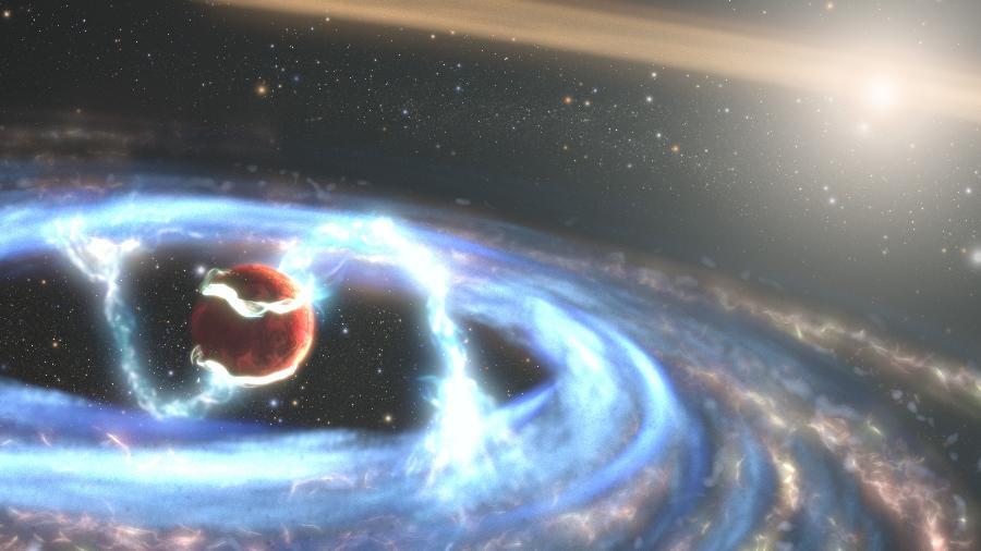 A ilustração mostra o material sendo levado por campos magnéticos até o planeta em crescimento. Ao chegar lá, ele cria manchas quentes que brilham intensamente no ultravioleta - Nasa/ ESA/ STScI/ Joseph Olmsted (STScI)