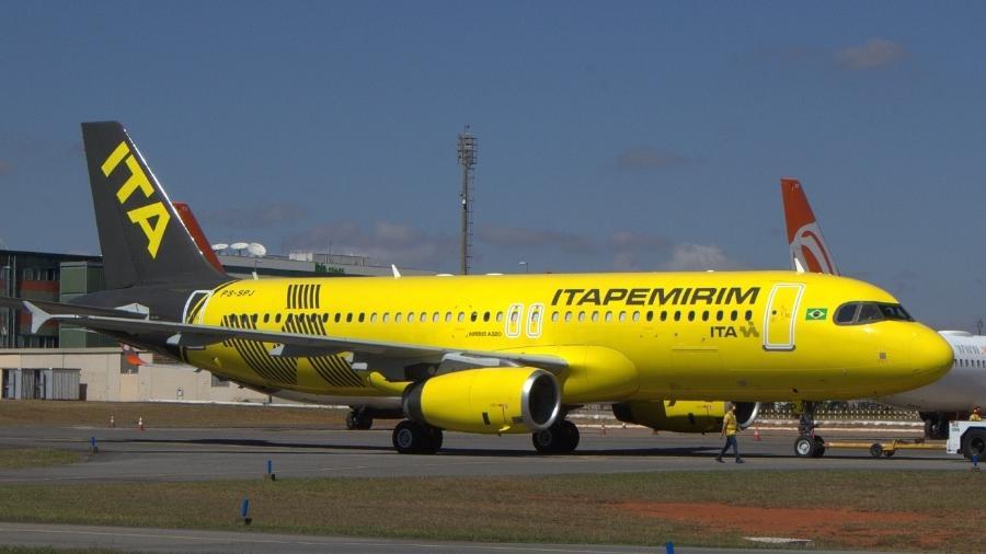Avião da Itapemirim com matrícula PS-SPJ, em homenagem ao dono da empresa, Sidnei Piva de Jesus - Alexandre Saconi/29.jun.2021