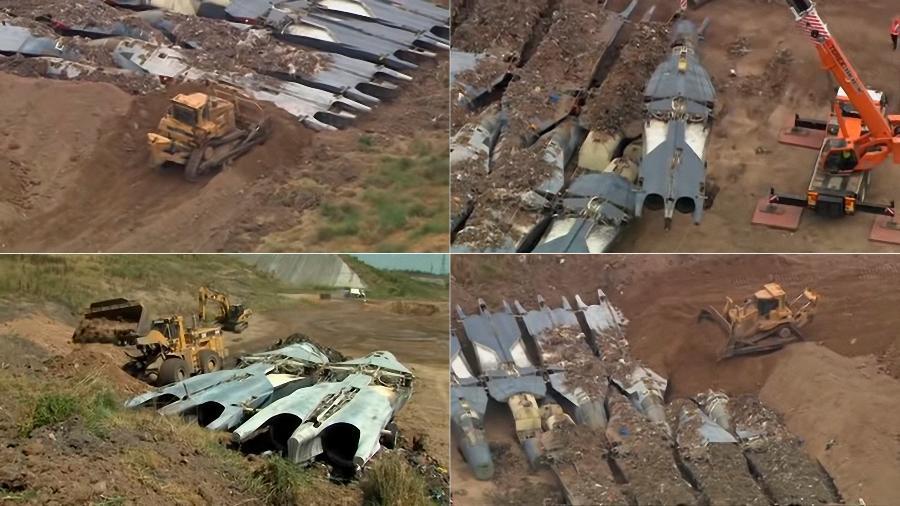 Aviões F-111 que pertenceram à Austrália foram enterrados ao invés de virarem sucata - Montagem/YouTube/Thiess