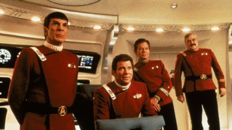 """Spock, Kirk, Bones e Scotty em """"Jornada nas Estrelas II - A Ira de Khan"""" - Paramount"""