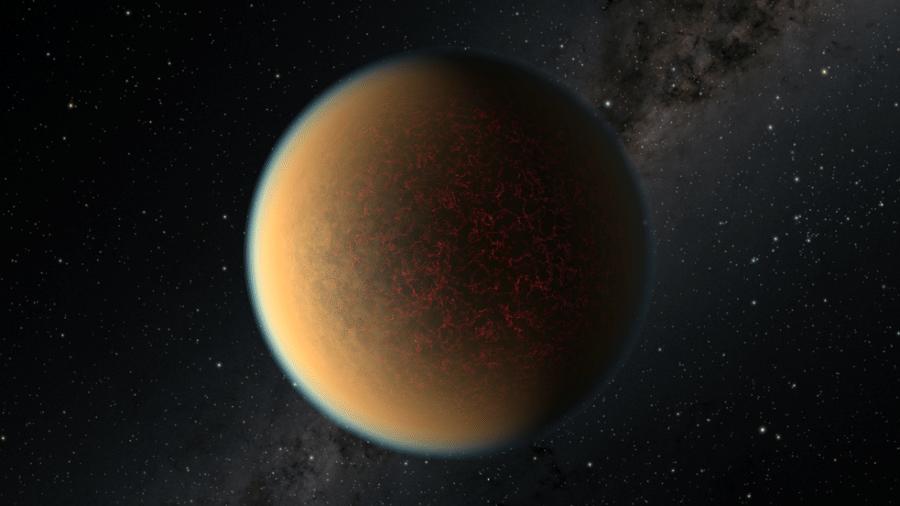 Ilustração artística do planeta GJ 1132 b. A atmosfera é representada por uma fina camada azulada, tal qual seria vista se estivéssemos mais próximos ao planeta - Nasa/ ESA/ R. Hurt (IPAC/Caltech)
