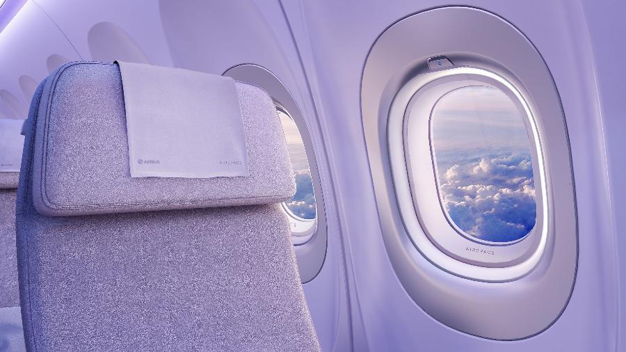 A cortina das janelas dos aviões devem estar abertas ou fechadas de acordo com as instruções de cada empresa por motivos de segurança - Divulgação/Airbus