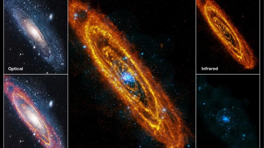 A galáxia de Andrômeda observada em diversas frequências, com telescópios e observatórios distintos. - ESA/Herschel/PACS/SPIRE/J. Fritz, U. Gent; Raios-X: ESA/XMM-Newton/EPIC/W. Pietsch, MPE; óptico: R. Gendler