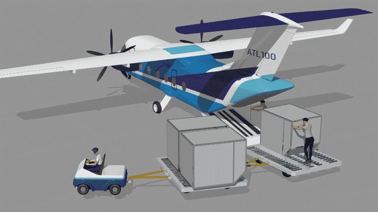 Rampa de embarque traseira do avião ATL-100, da Desaer - Divulgação/Desaer - Divulgação/Desaer