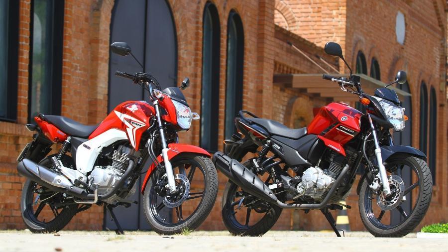 Honda CG 150 (à esq.) foi a moto mais vendida na OLX, correspondendo a 27% das motos comercializadas no ano passado - Mario Villaescusa/Infomoto