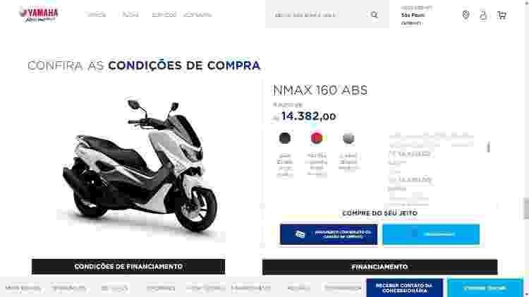 Yamaha Blu Store funciona como marketplace com ofertas de diversas concessionárias - Reprodução