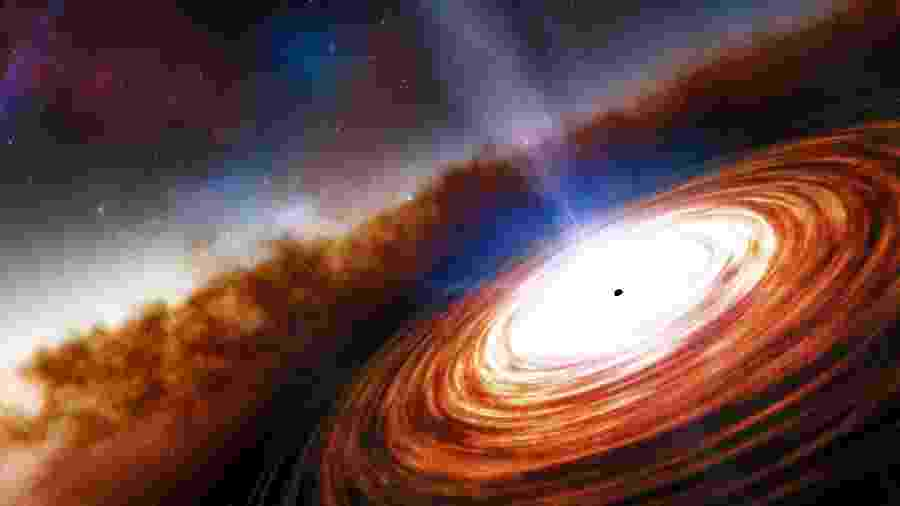 Impressão artística do quasar J0313-1806 com o disco de matéria ao seu redor - NOIRLab/NSF/AURA/J. da Silva