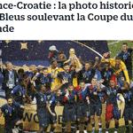 """Le Parisien: """"França x Croácia: a histórica foto dos Azuis levantando a Copa do Mundo"""" - Reprodução"""