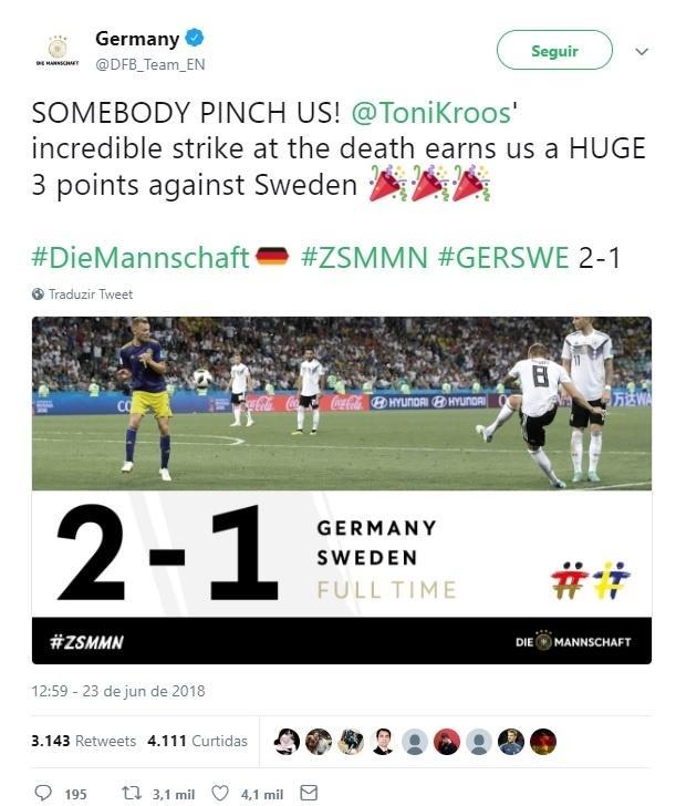 Post do site da Federação da Alemanha após vitória sobre Suécia
