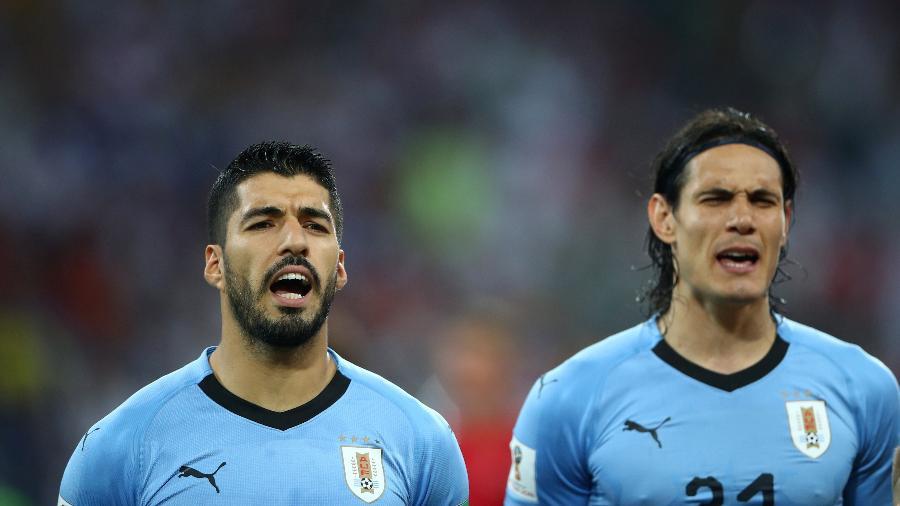 Luis Suarez e Edinson Cavani são questionados no ataque do Uruguai - REUTERS/Hannah Mckay