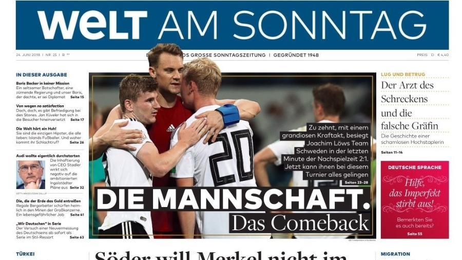 Welt destacou vitória alemã contra a Suécia - Reprodução