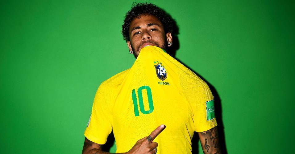 Neymar no retrato oficial para a Copa do Mundo da Rússia