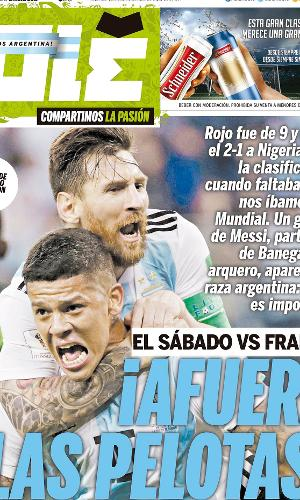 Reprodução do jornal Olé após vitória da Argentina sobre a Nigéria na Copa do Mundo 2018