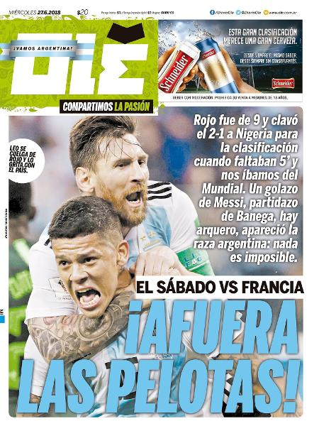 Reprodução do jornal Olé após vitória da Argentina sobre a Nigéria na Copa do Mundo 2018  - Reprodução/Olé