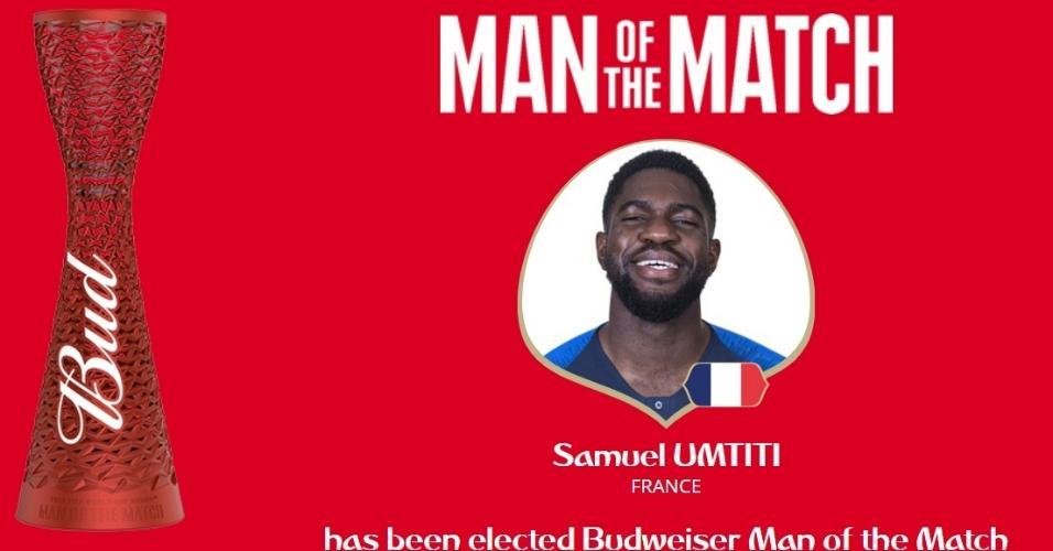 Samuel Umtiti eleito o ?homem do jogo? em duelo entre França e Bélgica