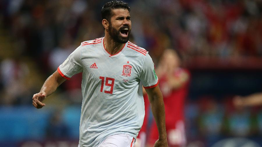 Diego Costa comemora gol da Espanha na partida contra o Irã - AFP PHOTO / Roman Kruchinin