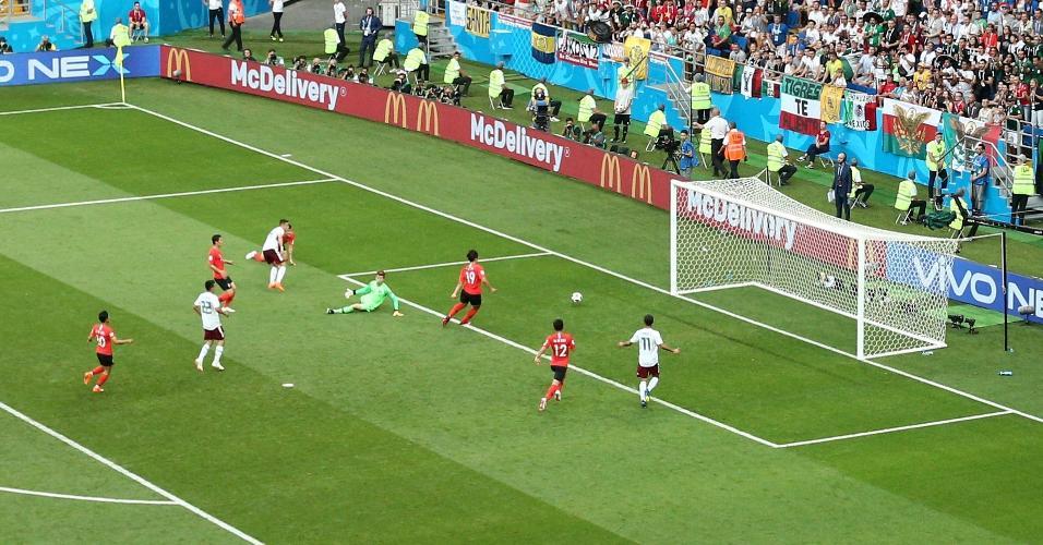 Em contra-ataque perfeito, México faz o segundo gol contra a Coreia do Sul