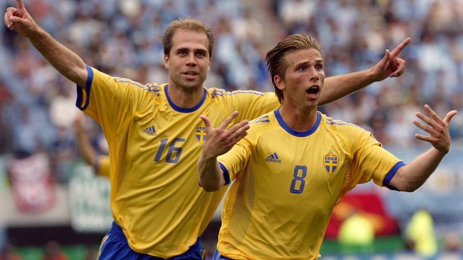 Anders Svensson (direita), ex-jogador da Suécia que tem o apelido de Taco - Daniel Garcia/AFP