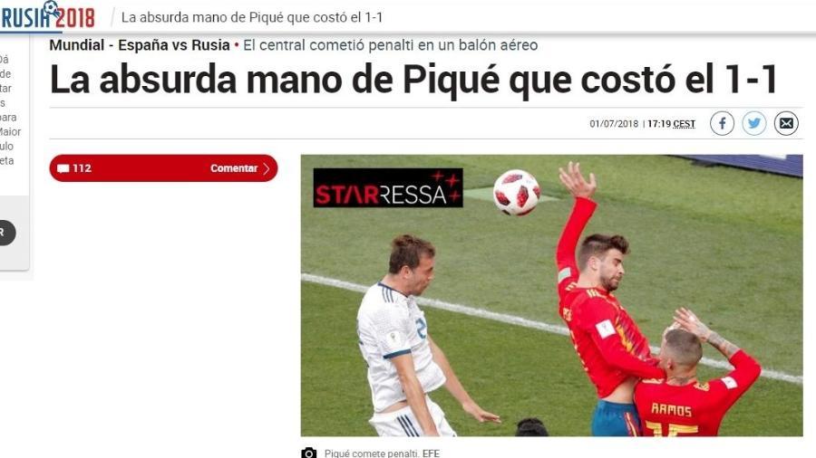"""""""A absurda mão de Piqué"""", escreve o Marca - Reprodução/Marca"""