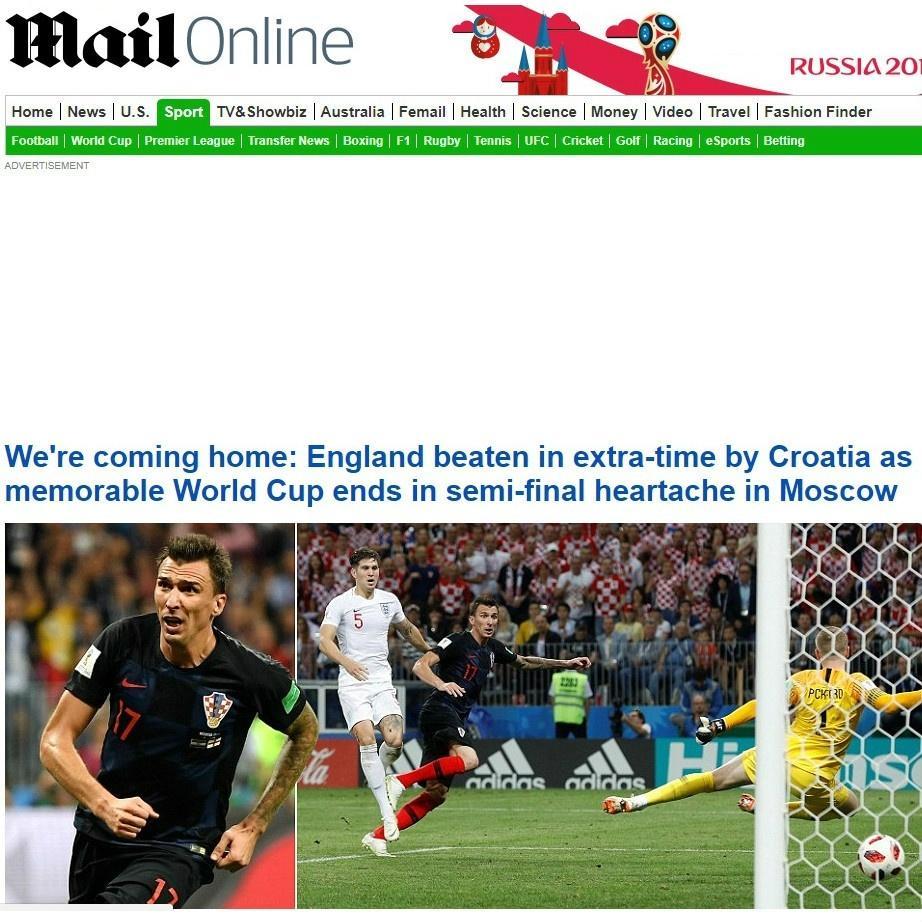 Daily Mail, da Inglaterra, após a eliminação nas semifinais da Copa