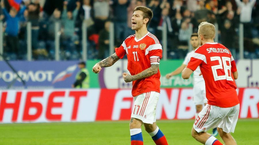Fedor Smolov, que anotou duas vezes contra a Espanha, é o homem gol da Rússia - Epsilon/Getty Images