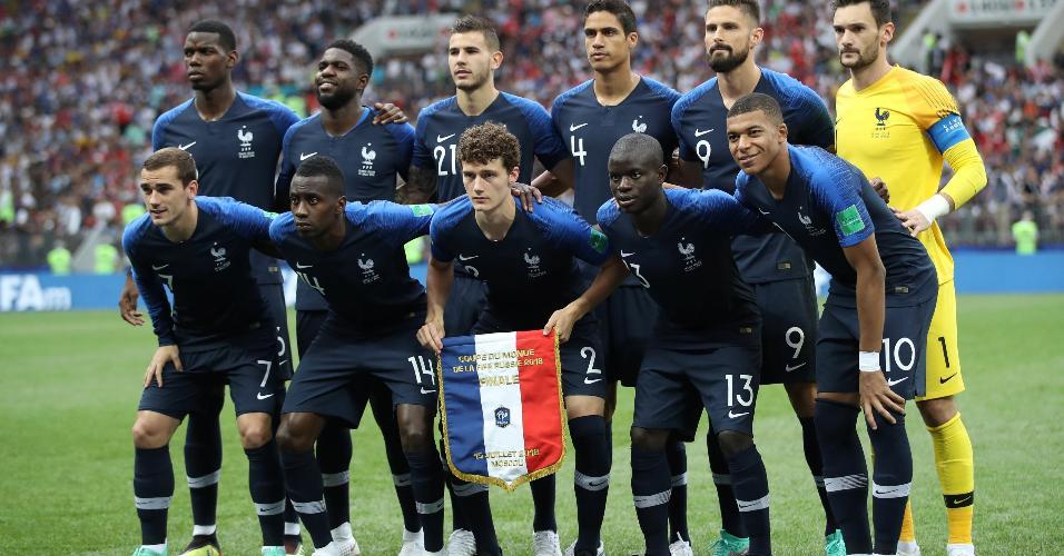 Time da França posado antes de final contra a Croácia