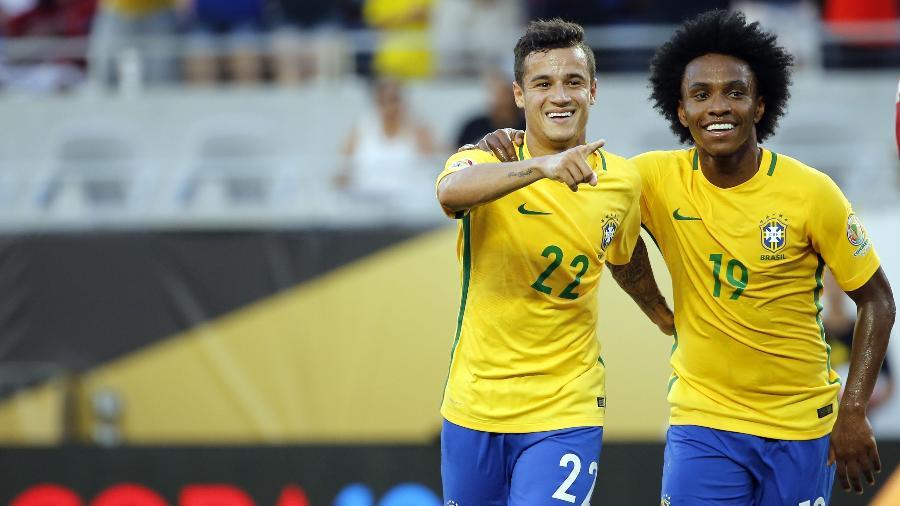 Tite não conta pontualmente com Neymar, mas pode festejar o ótimo momento de Philippe Coutinho e Willian - Kim Klement-USA TODAY