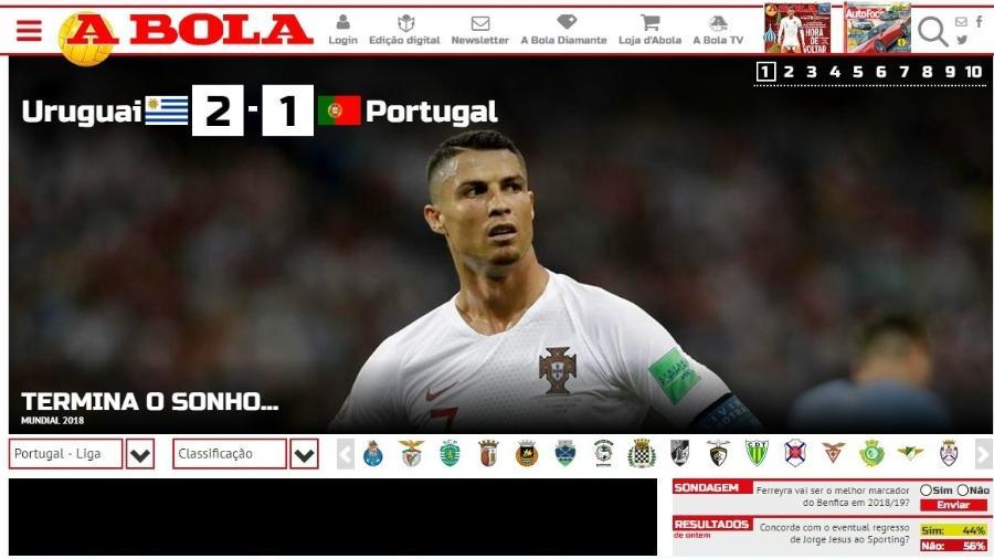 Capa do site do jornal A Bola depois da derrota portuguesa para o Uruguai - Reprodução