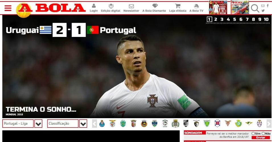 Capa do site do jornal A Bola depois da derrota portuguesa para o Uruguai