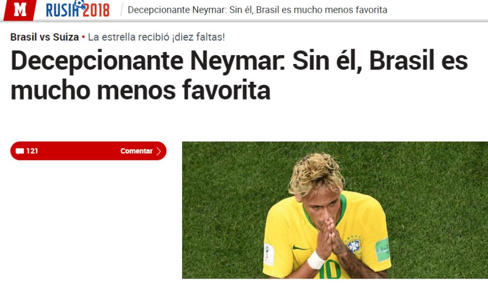 Jornal Marca, da Espanha, diz que atuação de Neymar foi