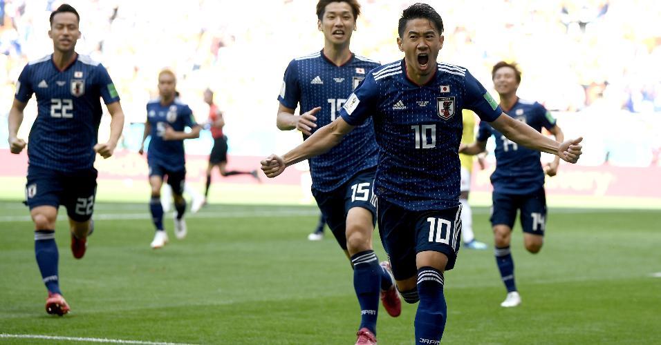 Shinji Kagawa comemora gol do Japão na partida contra a Colômbia