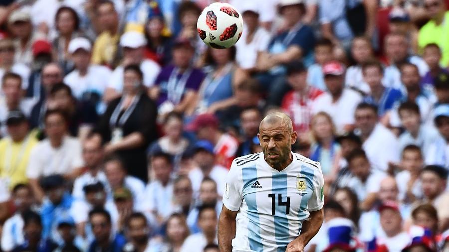 Javier Mascherano, durante partida entre Argentina e França - AFP PHOTO / Jewel SAMAD