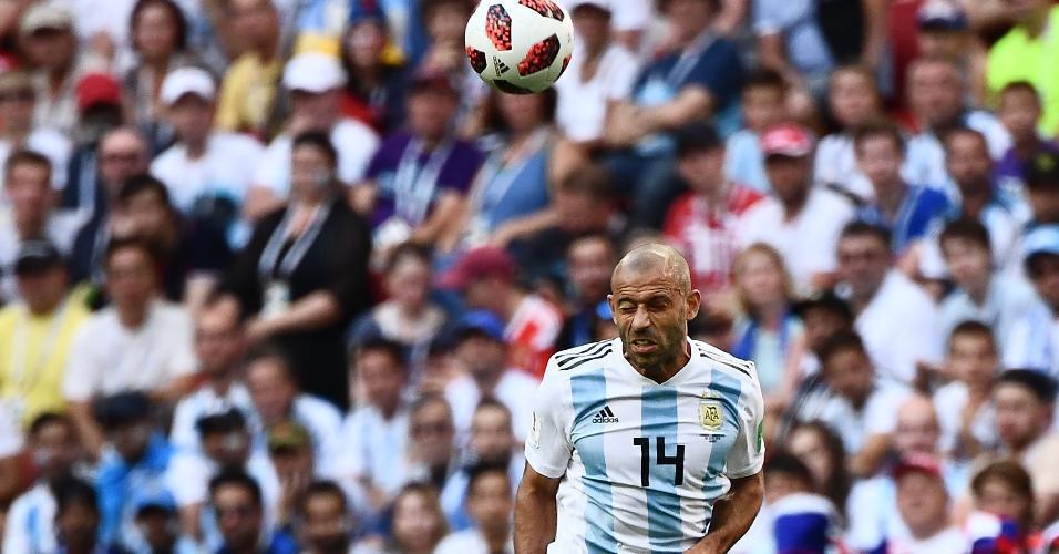 Javier Mascherano, durante partida entre Argentina e França
