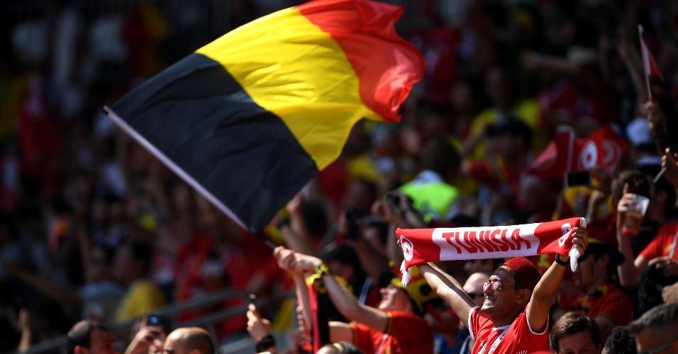 Torcidas antes de duelo Bélgica x Tunísia pela Copa do Mundo 2018