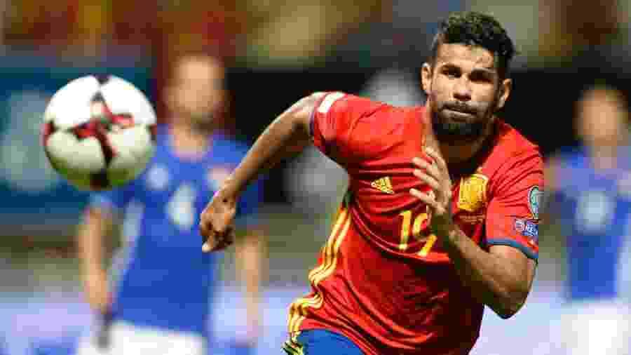 Diego Costa durante jogo da seleção da Espanha - Miguel Riopa/AFP