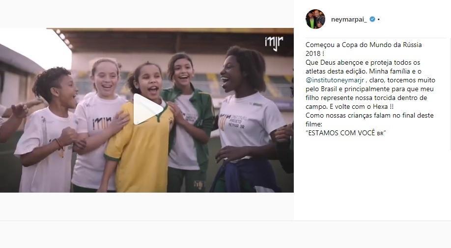 Neymar pai deseja sorte à seleção brasileira